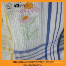 toalha de cozinha bordada personalizada algodão do weave do weave do waffle do girassol ajustada com gancho