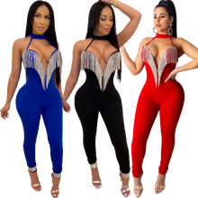 2021 Backless Sexy Nightclub Crystal Gorgeous Jumpsuit Spot