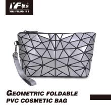 Geometric foldable grind arenaceous PVC cosmetic bag