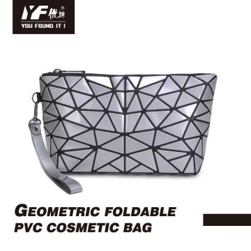 Sac cosmétique en PVC arénacé pliable géométrique