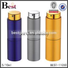 Cosmétique meilleur vente en gros 5 ml 10 ml verre rotatif bouteille de parfum luxe coloré en aluminium couvercle vaporisateur parfum
