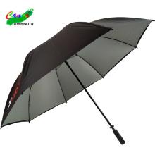 Silver UV coating sun block stick golf logo umbrellas, unbreakable rain coat sleeve port umbrella