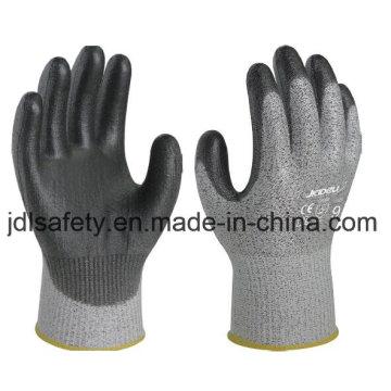 Cortar el guante de trabajo resistente con poliuretano sumergiendo (PD8024)