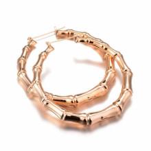 Diseño personalizado muestras baratas anillo tipo de bambú chapado en oro pendientes de joyería