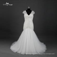 TW0173 See Through Back V decote Cap Sleeve Alibaba vestido de casamento sereia