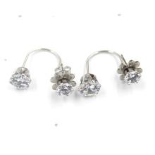 Schöne Frauen-Doppel-Blumen-geformte Silber überzogene Bolzen-Ohrringe
