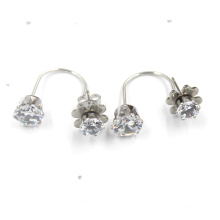 Beautiful Women Double Flower Shaped Silver Plated Stud Earrings