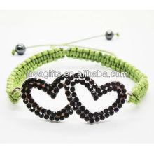 Black double heart alloy with diamante friendship bracelet