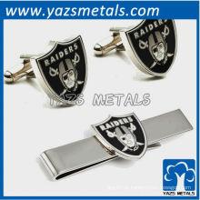 Conjunto de presentes de punho de mancuernas e gravata, clipe de gravata de metal feito sob encomenda com design