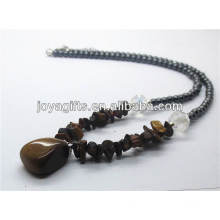 Tiger eye chip Necklace with tiger eye tumbled stone pendant