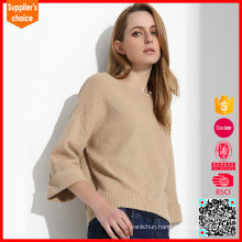New fashion long sleeves camel color crewneck cashmer sweater woman