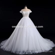 Beaded Appliqued Kappe Hülse Weißes Hochzeitskleid Brautkleid