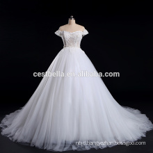 Beaded Appliqued cap sleeve White wedding dress bridal gown