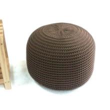 Brown Ecru crocheted pouf