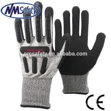 Nmsafety HPPE and nylon coated cut level 5 TPR chips nitrile work gloves