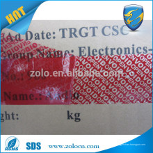 Las nuevas importaciones calientes imprimieron el pegamento de encargo abierto la cinta vacía cinta total y parcial de la transferencia para el lacre