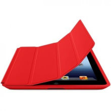 Red Pu Cow Leather Ipad Protective Covers With Embossed Logo Fashionable
