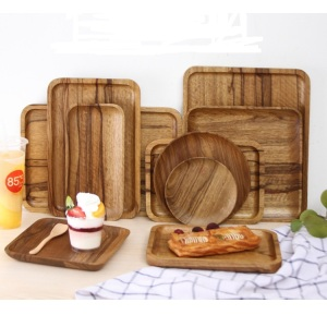 Wooden Tray Wood Serving Plate Food Dish Container