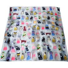 Moda mujer almacenada chal de seda de impresión digital gato animal 90 hecho a mano puro 100% bufanda de seda