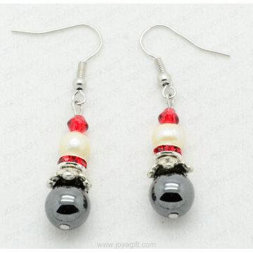 Freshwater pearl Hematite earring