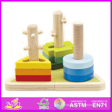 2014 New Kids Wooden Stack and Sort Puzzle, Popular Children Sort Puzzle Toy, Wooden Preschool Shapes Wooden Sort Puzzle W13e012
