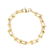 Exaggerated hip-hop U-shaped bracelet with stitching chain gold and silver titanium steel jewelry