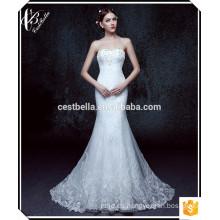Más nuevo estilo caliente vendiendo cuerpo forma de hombro encaje elegante sirena vestido de novia