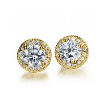 Pendientes de diamantes redondos de cobre, pendientes de oro 18k