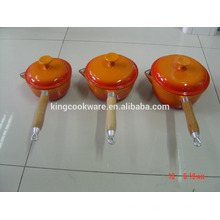 Vaporizador de esmalte de ferro fundido cozinhar panela com alça longa