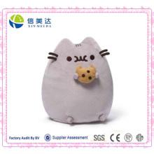 Симпатичный мягкий плюшевый пушинский плюшевый кот с игрушкой-подушкой из печенья