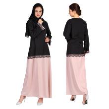 Hot vente prink msulim femmes porter premium robe en dentelle de polyester abaya