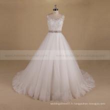 Charming A-line Robe de mariée à long train avec perles exquises dentelle