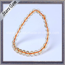 6-10mm Natural Citrine Round Ball Bracelet