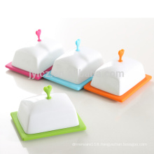 New Design Silicone Base Ceramic Porcelain Butter Dish With silicone knob lid