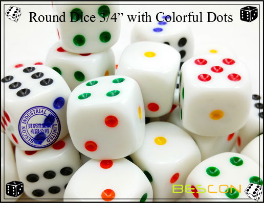 Round Dice 19MM with Colorful Dots-4