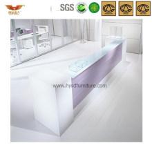 Elegant White Office Wooden Reception Desk Salon Front Desk (HY-Q46)