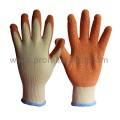 Gants tricotés Beige Tc à 10 Gaines avec Rondelle Orange Latex Palm Coated