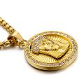 Hip Hop Kristall Gold Jesus Anhänger Halskette