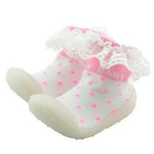 toddler baby rubber sole sock shoes lace tube socks for girl