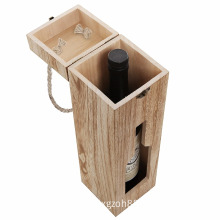 Country Rustic Finished Wood Cut Out Design Wine Case Carrier Modern Wine Bottle Carrying Box