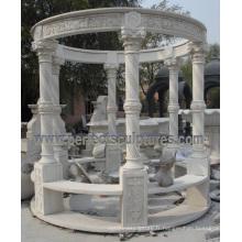 Gazebo de jardin avec pierres calcaires en granit de marbre en pierre (GR066)