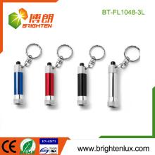 Fabricant en gros Custom Made Colorful Promotion Aluminium Metal Mini 3 led Torch Keychain