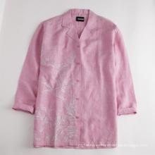 Camisa de lino de manga media con blusas superiores para mujer