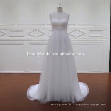 G013 robe de mariée en tulle mauve et blanc sans bretelles