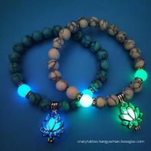 Turquoise Bead Bracelet Yoga Energy Luminous Lotus Elastic Beaded Bracelet