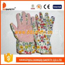 Gardening Gloves. Pink Dots on Palm. Flower Design Back (DGB105)