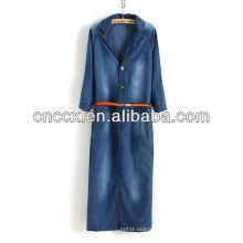 13CD1149 Maxi denim meia manga mulheres moda vestido