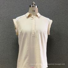 Camisa manga corta mujer lino encaje