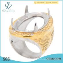 La alta calidad grabó los anillos de indonesia del dedo del acero inoxidable para la venta caliente de la boda de los hombres