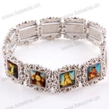 Bracelet élastique en alliage d'argent avec photos Saint
